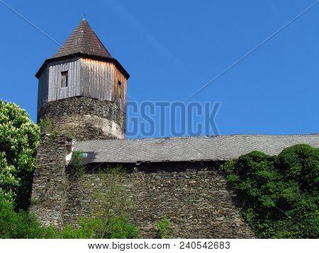 Medieval Gothic Castle On A Rock, Tower And Main Building, Czech Republic, Rataje Nad Sazavou