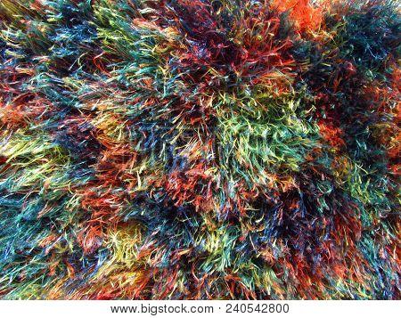 Furry Multicolored Fabric Texture, Nice Vivid Rainbow Colors, Cheerful Design