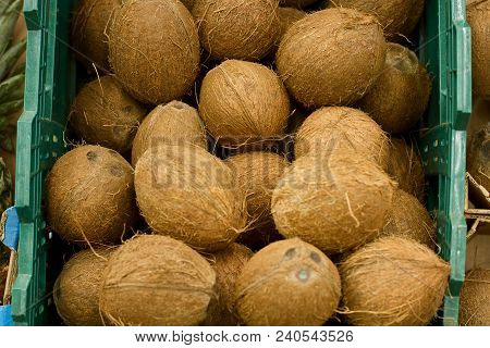 A Lot Coconuts In The Supermarket. Many Coco Lying In A Boxes. Top View. Mock Up.copy Space.