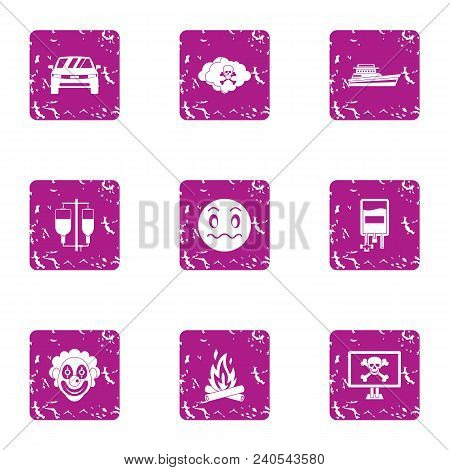 Risky Event Icons Set. Grunge Set Of 9 Risky Event Vector Icons For Web Isolated On White Background
