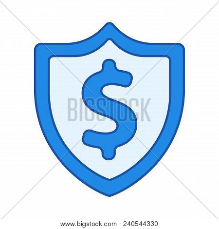 Dollar Shield Icon Isolated On White Background. Secure Money. Vector Stock.