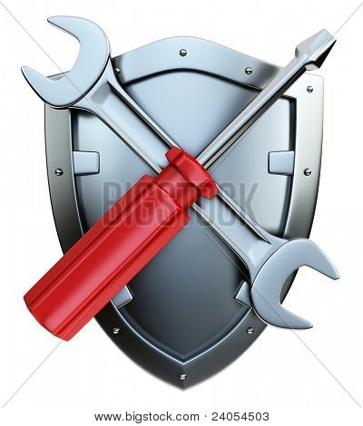 Screwdriver and wrench on white background