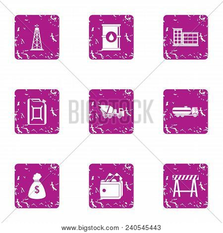 Master Building Icons Set. Grunge Set Of 9 Master Building Vector Icons For Web Isolated On White Ba