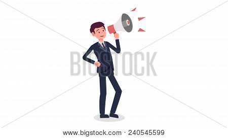 Businessman Cartoon Holding Megaphone With Isolated White Background Vector.young Man Shouting With