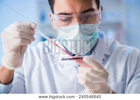 Lab assistant testing blood samples in hospital