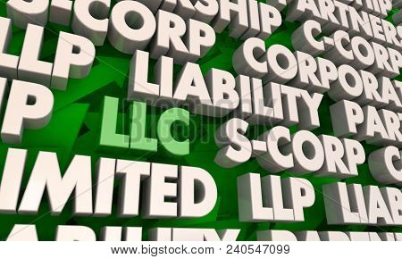 LLC Limited Liability Corporation Business Company Words 3d Render Illustration poster
