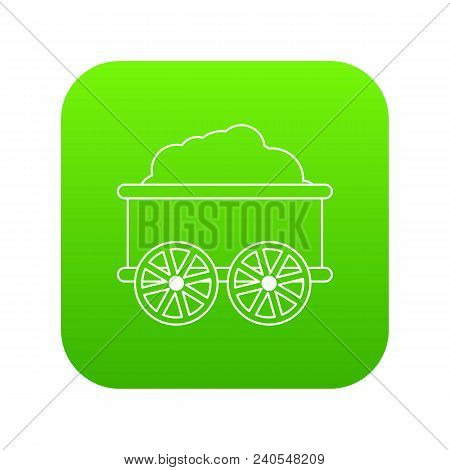Train Wagon Icon Green Vector Isolated On White Background