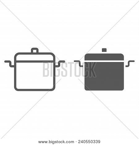 Cooking Pan Line And Glyph Icon, Kitchen And Cooking, Cooking Pot Sign Vector Graphics, A Linear Pat