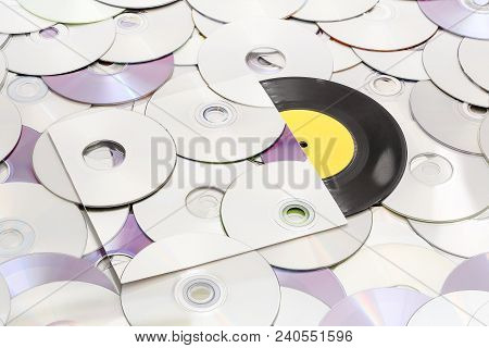 Vinyl Record On Cds, Cover Is The Same With Background