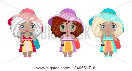 Three Girls In Summer Beach Dresses, Sundresses, Hats, Beach Bags, Clogs And A Phone. Three Images O