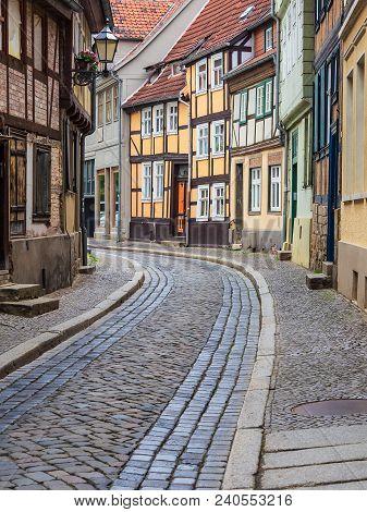 Historical Lane In The City Quedlinburg, Germany.