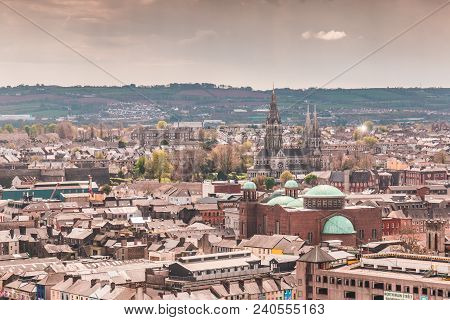 April 29th, 2018, Cork, Ireland - Skyline Of The City Of Cork As Seen From The Shandon Bells And Tow