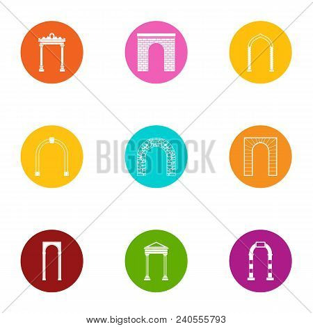 Archway Icons Set. Flat Set Of 9 Archway Vector Icons For Web Isolated On White Background