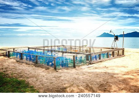 Protection and surveillance enclosure for sea turtle eggs on a beach on Borneo, Sarawak, Malaysia poster