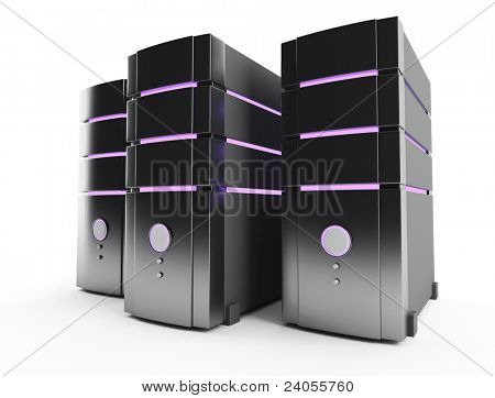 3D server farm computer on white