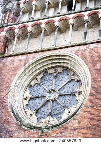 Round Window Of A Church, Vertical Image