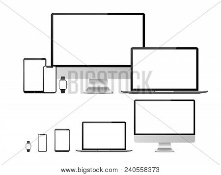 Computer, Laptop, Tablet, Smartphone And Smart Watch Device With Blank White Screen. Devices Mockup