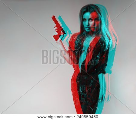 Girl Model With A Scandinavian Look In A Blue Combo On A Naked Body With A Gun Photo Processed In Th