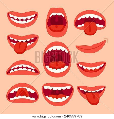 Cartoon Mouth Elements Collection. Show Tongue, Smile With Teeth, Expressive Emotions, Smiling, Shou