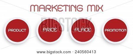 Business Concepts, Illustration Of Marketing Mix Or 4ps Model For Management Strategy Diagram In Red