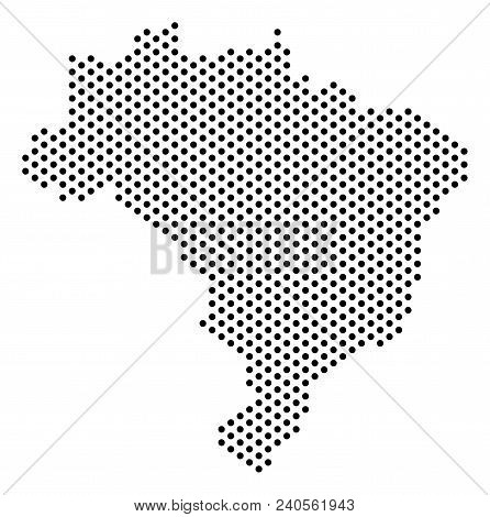 Dot Brazil Map. Vector Territory Plan. Cartographic Concept Of Brazil Map Done Of Sphere Dots.
