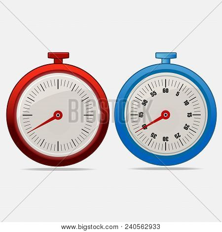 Red And Blue Realistic Timers 40 Seconds On Gray Background . Stopwatch Icon Set. Timer Icon. Time C