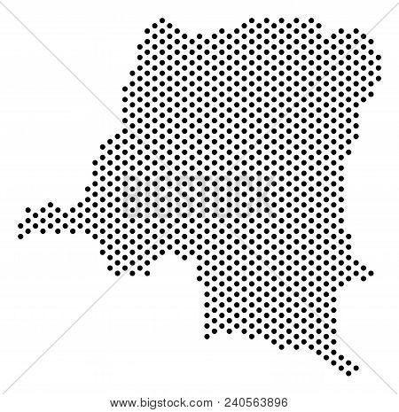 Pixel Democratic Republic Of The Congo Map. Vector Territory Plan. Cartographic Concept Of Democrati