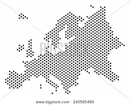 Dotted Europe Map. Vector Territory Scheme. Cartographic Concept Of Europe Map Formed With Sphere Do