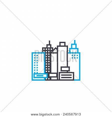 Building Of High Rises Vector Thin Line Stroke Icon. Building Of High Rises Outline Illustration, Li