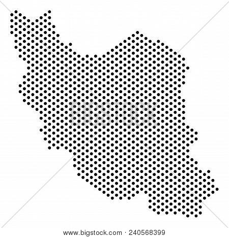 Dot Iran Map. Vector Geographical Scheme. Cartographic Composition Of Iran Map Constructed With Fill