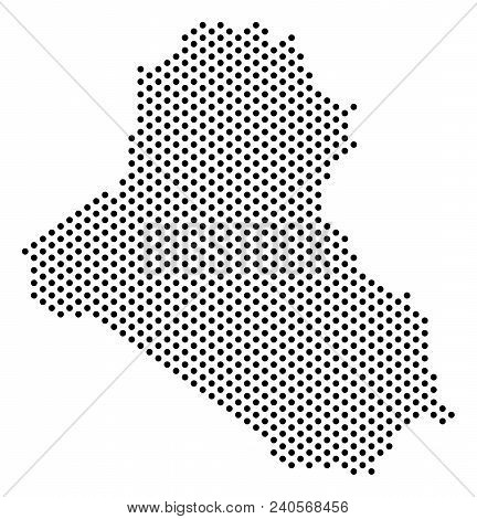 Dotted Iraq Map. Vector Geographical Scheme. Cartographic Pattern Of Iraq Map Formed Of Sphere Dots.