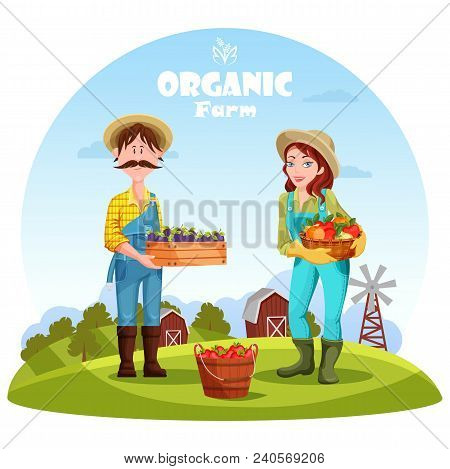 Gardener Man With Box Of Plums And Village Woman With Basket Of Apples. Rural Countryside With Barn