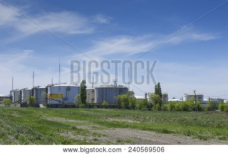 Tanks, Storage Tanks For Oil And Petroleum Products, Oil Storage Equipment, Against A Background Of