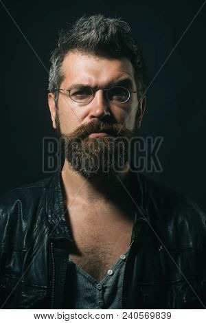 Portrait Man. Beauty And People Concept - Portrait Of Serious Man With Beard And Moustache In Fashio