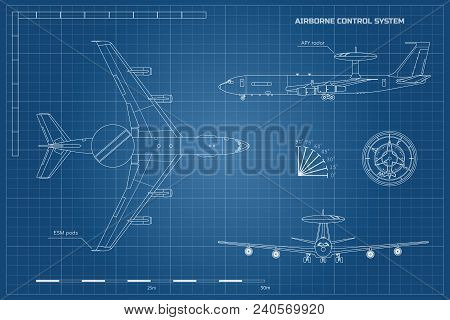 Outline Blueprint Of Military Aircraft. Top, Front And Side Jet View. Army Airplane With Airborne Wa