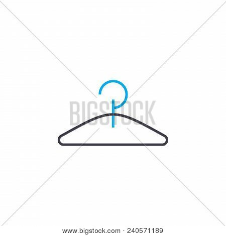Clothes Hanger Vector Thin Line Stroke Icon. Clothes Hanger Outline Illustration, Linear Sign, Symbo