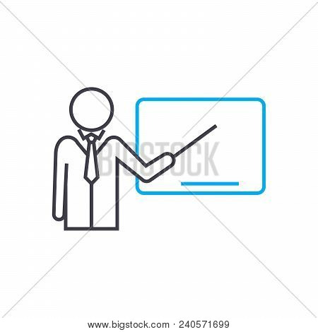 Conduct Of Lecture Vector Thin Line Stroke Icon. Conduct Of Lecture Outline Illustration, Linear Sig