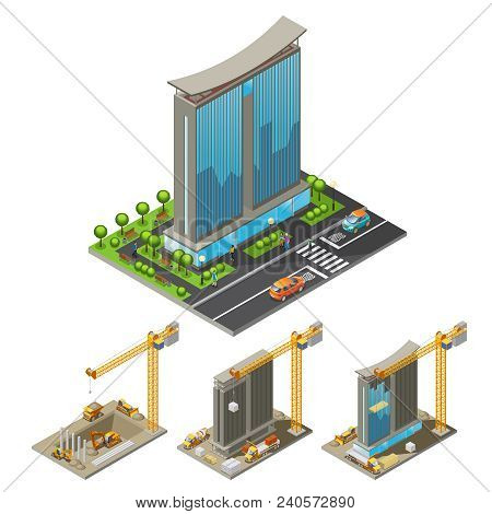 Isometric Building Construction Process Concept With Different Steps Of Skyscraper Erection Cranes A