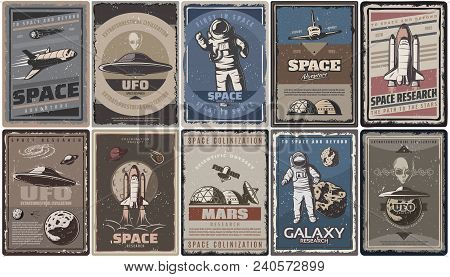 Vintage Colored Space Posters With Spaceships Ufo Planets Astronauts Asteroids Mars Colonization And