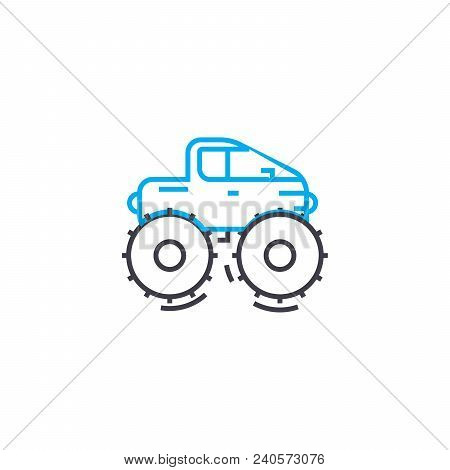 Cross Country Vehicle Vector Thin Line Stroke Icon. Cross Country Vehicle Outline Illustration, Line
