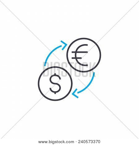 Currency Exchange Vector Thin Line Stroke Icon. Currency Exchange Outline Illustration, Linear Sign,