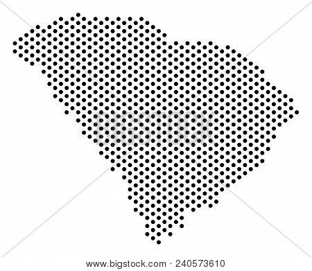 Pixel South Carolina State Map. Vector Geographical Plan. Cartographic Composition Of South Carolina
