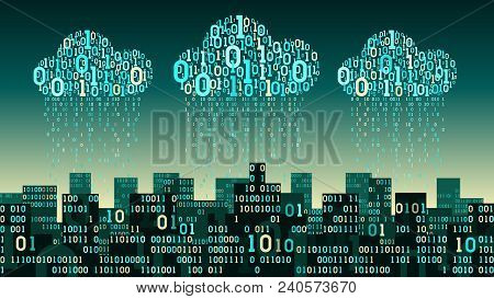 Abstract Futuristic Smart City With The Artificial Intelligence And Internet Of Things, Connected To