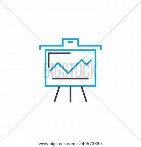 Demonstration Of Line Chart Vector Thin Line Stroke Icon. Demonstration Of Line Chart Outline Illust