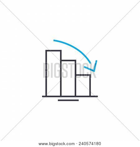 Downtrend Chart Vector Thin Line Stroke Icon. Downtrend Chart Outline Illustration, Linear Sign, Sym
