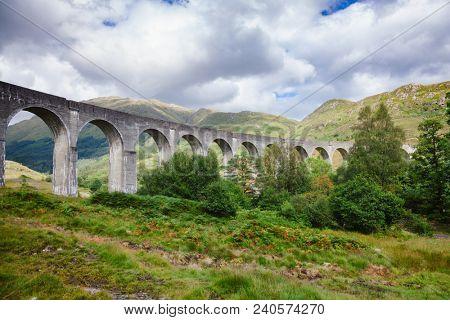 Railway Viaduct on the West Highland Line in Glenfinnanin, Lochaber, Highland, Scotland, UK