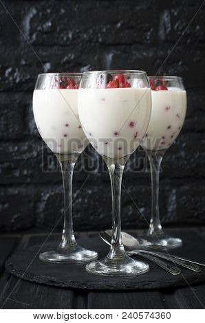 Panna Cotta With Cream With Red Currant
