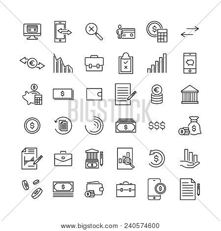 Set Of Banking Thin Line Icons. High Quality Pictograms Of Money. Modern Outline Style Icons Collect