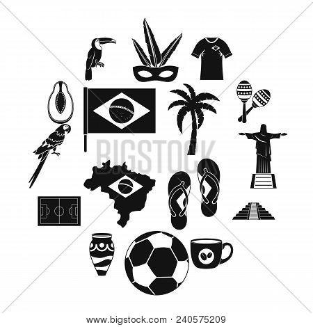 Brazil Travel Symbols Icons Set. Simple Illustration Of 16 Brazil Travel Symbols Vector Icons For We