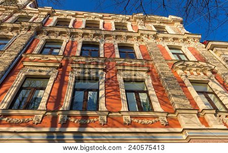 The Building Facade In Riga, Capital Of Latvia. This Building Is An Example Of Art Nouveau Architect